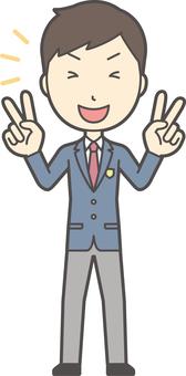 High school student blazer male -012-whole body