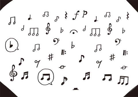 Hand-drawn musical notes set