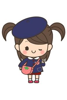 Girls' child (hat oblique)