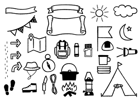 Outdoor goods _ hand-drawn _ monochrome