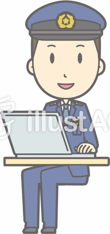 警察官男性a-PC笑顔-全身のイラスト
