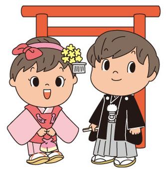 기모노의 어린이와 도리