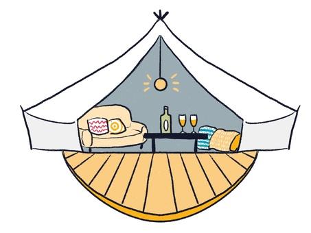Glamping, camping night tent