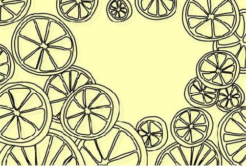 Round slice frame of lemon