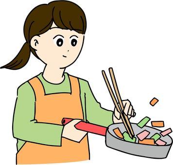 요리를하는 여자