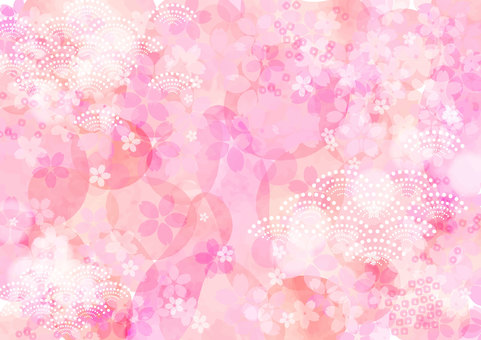 Japanese pattern material 025 Cherry background