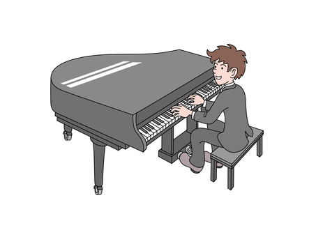 A young man playing the piano