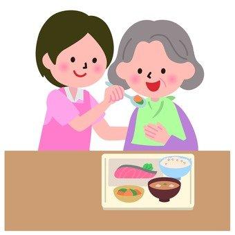 Nursing staff to help grandmother's meal