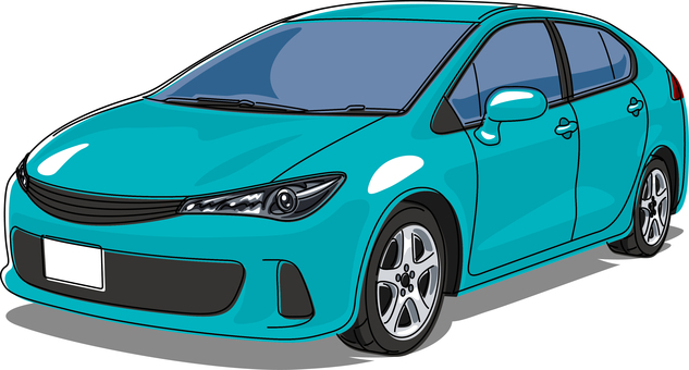 Car passenger car line drawing blue