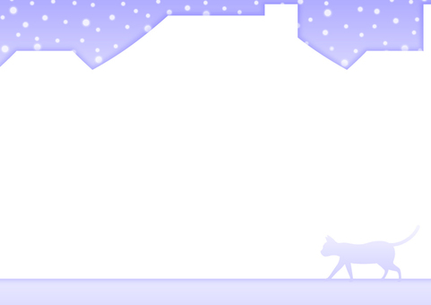 Winter city and cat silhouette frame