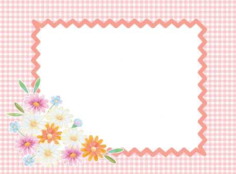 Flower and plaid pink ★ 0079-F