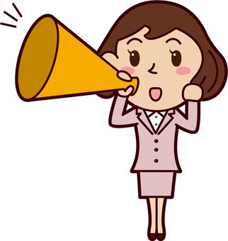 Office worker woman megaphone