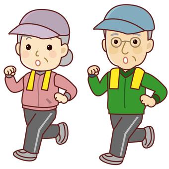 Senior men and women jogging