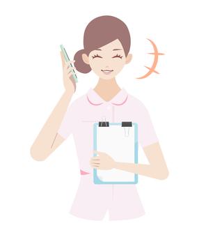 婦女呼喚智能手機(護士)