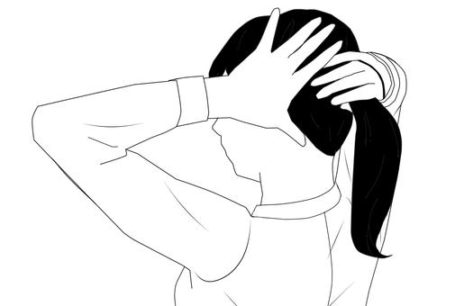 Woman tying hair (black hair) (silhouette)