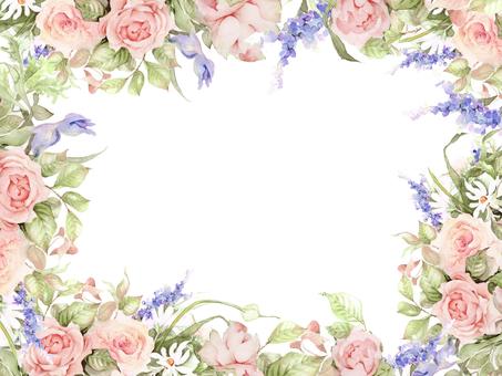 Rose and Yaburan flower frame - frame