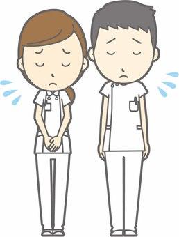 Nurse male and female - bow apology - whole body