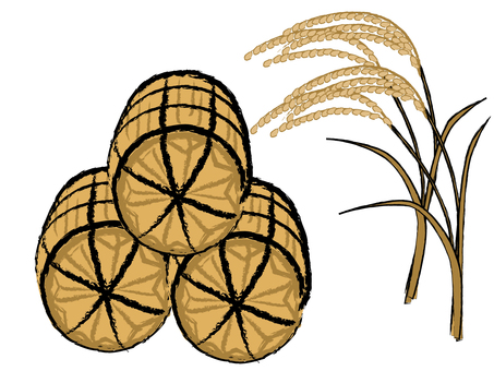 Japanese-style material Autumn taste rice rice straw