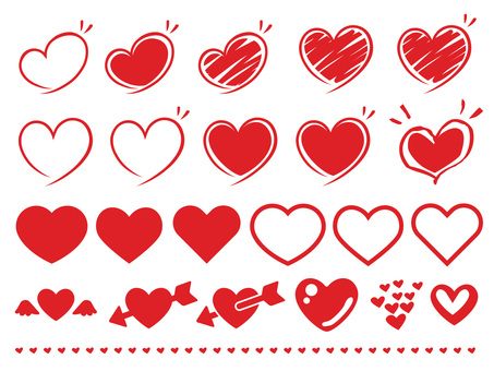 Simple heart · hand-drawn material collection set red