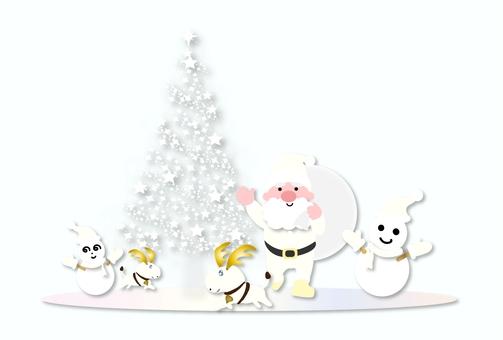 Christmas white tree and Santa