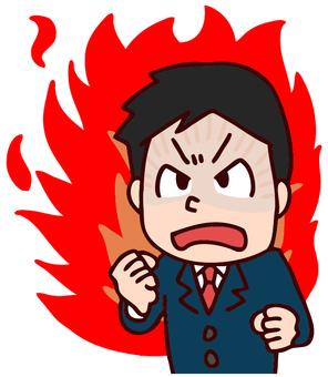 Burning salaried worker illustration