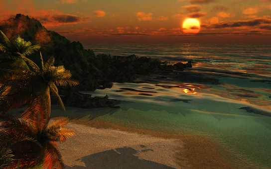 Tropical sandy beach and sea at sunset