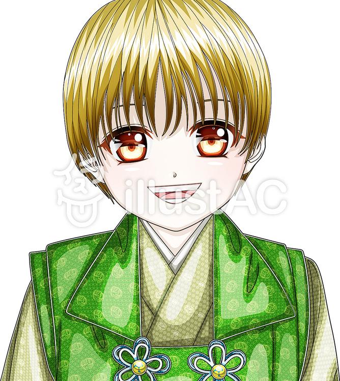 七五三和装笑顔男の子顔アップイラスト No 157392無料イラスト