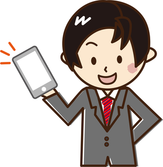 A man with a suit fiddling with a smartphone _B 18