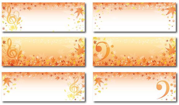 Elegant fall color music background belt frame landscape set