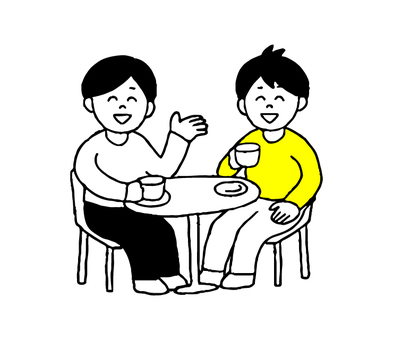 カフェで会話する男性2人(シンプル)
