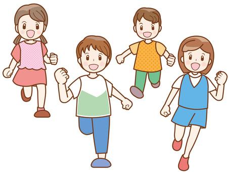 Running children line A