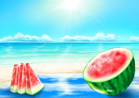Sandy beach and watermelon