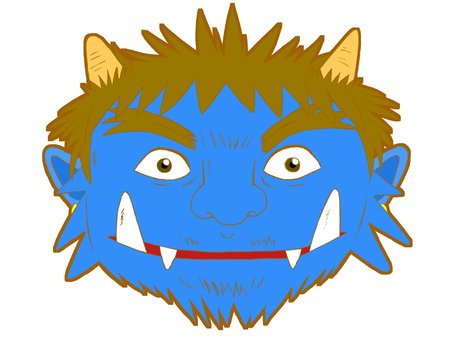 Blue Oni, only face