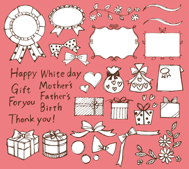Ribbon etc. Gifts gifts hand drawing