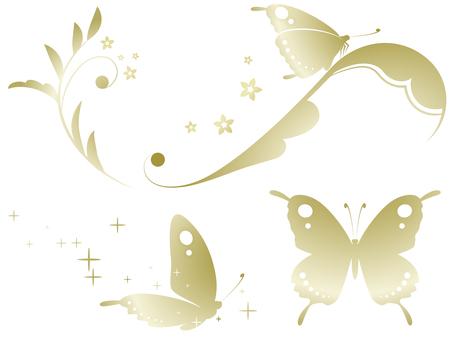蝶と蔓草のセット(金グラデーション)