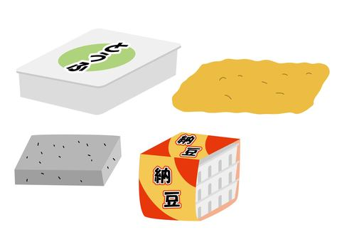 Illustration of corners of soy products