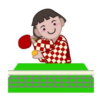 Hot spring girl playing table tennis