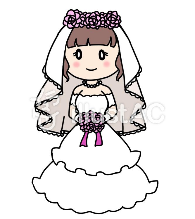 かわいいウエディングドレスのイラスト