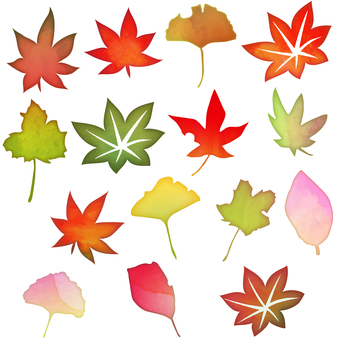 水彩風秋の落ち葉セット