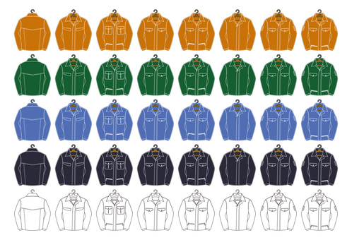 Work clothes illustration set (with hanger)