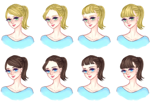 """Girls' hair style """"Ponytail A"""""""