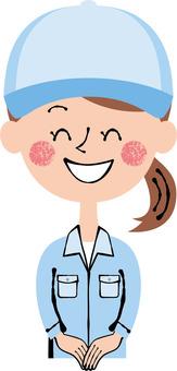 Smile Blue Worker Front Female Waist Upper Body