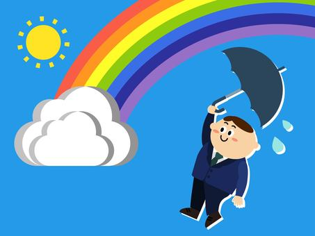 Rainbow businessman after the rain