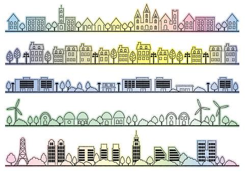 Illustration set of the streets