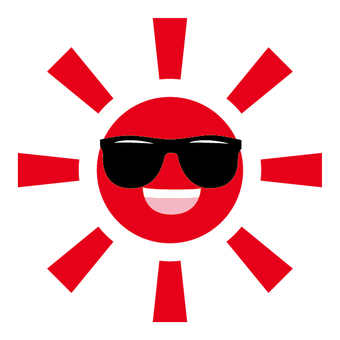 The sun wearing sunglasses
