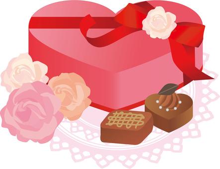 장미와 선물 초콜릿