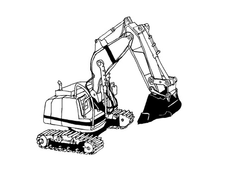 (Monochrome version) Excavator car