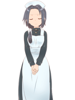 Apron dress girl standing picture (哀)