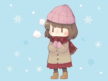 Girl in a coat in the snow
