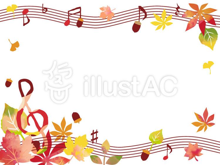 音符と落ち葉の秋フレームイラスト No 1277233無料イラスト